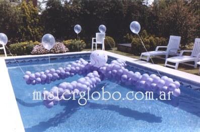 Decoracion con globos mister globo for Pulpo para piscina
